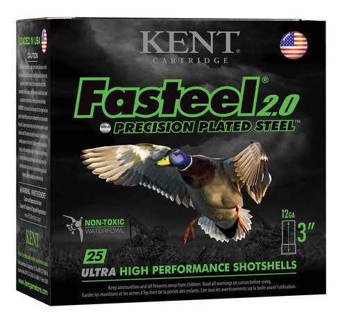 "Kent Fasteel Waterfowl 12 Ga, 3"", 1-1/8oz, 4 Shot, 25rd/Box"