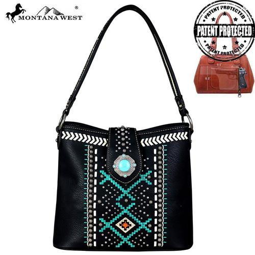 Montana West Aztec Collection Conceled Carry Hobo, Black