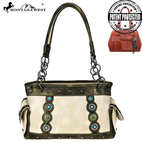 Montana West Concho Collection Concealed Carry Satchel, Tan