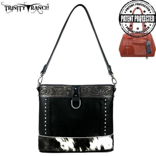 Montana West Trinity Ranch Hair-On Leather Collection Concealed Carry Hobo/Crossbody, Black