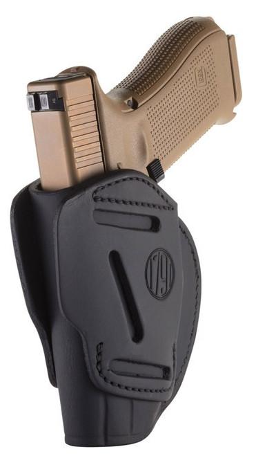 1791 Gunleather 3 Way Glock 17/HK VP9/S&W M&P9/Springfield XD9, Steerhide, Stealth Black
