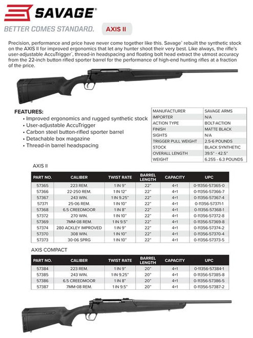 "Savage Axis II, 6.5 Creedmoor, 22"" Barrel, Black Color, Black Polymer Stock, 4Rd, Detachable Box Magazine"