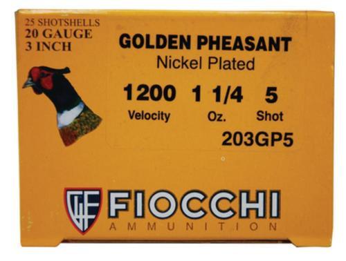 "Fiocchi Golden Pheasant Nickel 20 Ga, 3"", 1.25oz, 5 Shot, 1200 FPS, 25rd/Box"