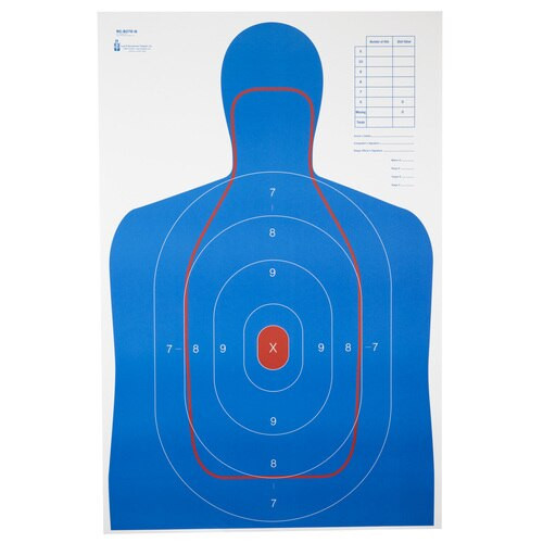 """Action Target B-27E And FBI Q Combination Target, Blue/Red, 23""""x35"""", 100 Per Box"""