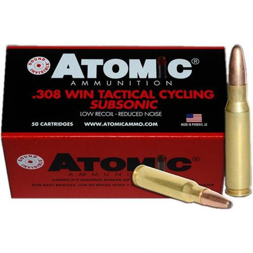 Atomic Tactical Cycling Subsonic, .308 Win, Soft Point Round Nose, 260gr, 50rd Box