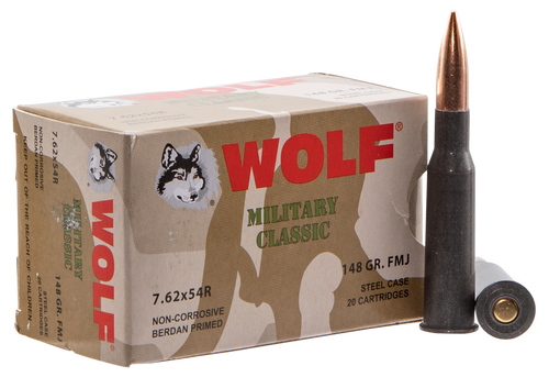 WOLF Military Ammo 7.62X54R FMJ 148gr, 500rd/Case