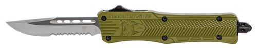 "CobraTec CTK-1 Small OTF, 2.75"", 440C Stainless Steel, Black Drop Point Serrated, Olive Drab Green Zinc-Aluminum Alloy"