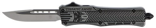 "CobraTec CTK-1 Small OTF, 2.75"", 440C Stainless Steel, Black Drop Point, Stonewashed Zinc-Aluminum Alloy"