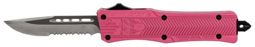 "CobraTec CTK-1 Small OTF, 2.75"", 440C Stainless Steel, Black Drop Point, Serrated Pink Zinc-Aluminum Alloy"