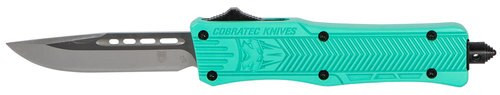 "CobraTec CTK-1 Small OTF, 2.75"", 440C Stainless Steel, Black Drop Point, Tiffany Blue Zinc-Aluminum Alloy"
