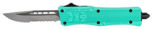 "CobraTec CTK-1 Small OTF, 2.75"", 440C Stainless Steel, Black Drop Point, Serrated, Tiffany Blue Zinc-Aluminum Alloy"