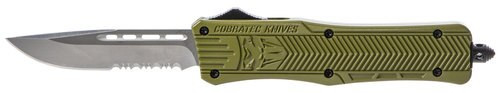 "CobraTec CTK-1 Medium OTF, 3"", 440C Stainless Steel, Drop Point Serrated, Olive DrabGreen Zinc-Aluminum Alloy"