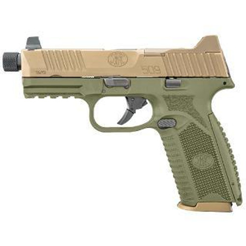 "FN 509 Tactical 9mm, 4.5"" Threaded Barrel, OD Green Frame, Flat Dark Earth Slide, 17 & 24rd"