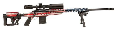 "Howa 1500, Bolt Action Rifle, 308 Winchester, 24"" Heavy Threaded Barrel, Red White & Blue American Flag Finish, Polymer Stock, Right Hand, Bipod, 10rd Mag, 4X16-50 Scope Included"