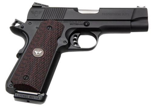 "Wilson Combat 1911 Professional Elite 45 ACP Single 4"" Barrel Black Cherry G10 Grip Black Slide"
