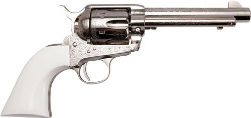 "Cimarron S.A.A. Frontier  Engraved .45 Long Colt5.5.5"" Barrel Nickel Finish, Ivory Type Grips 6 Round"