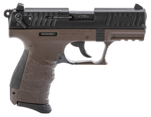 "Walther P22 QD 22LR, 3.42"", OD Green Interchangeable Backstrap Grip and Frame, Black Slide, 10rd"