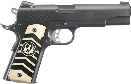 "Ruger SR1911 Govt 10MM 5"" Barrel Night Sights, Ivorylite/Chevron Grips 8rd Mag"