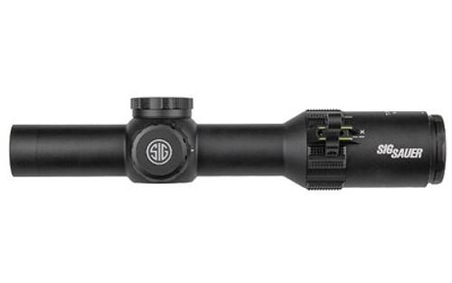 Sig Sauer, TANGO4 Rifle Scope, 1-4X24mm, 30mm, FFP, 300 Black Horseshoe Illuminated Reticle, Black, 0.5 MOA Adjustments, Black