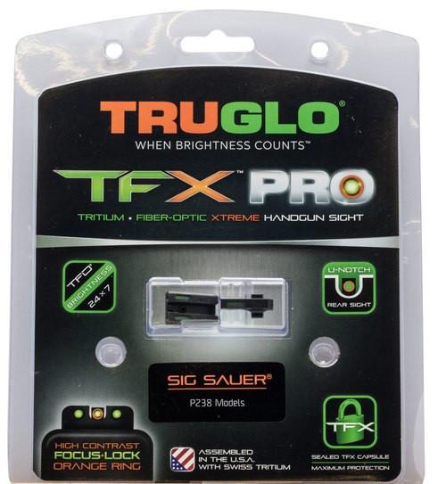 Truglo TFX Pro Sights For Sig P238,  #6 Front/#6 Rear, Green Tritium/Orange Outline