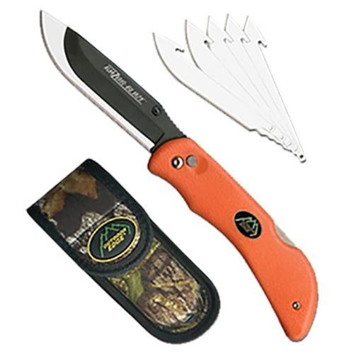 """Outdoor Edge Razor-Lite Knife 3.5"""" 420J Steel, Sheath Rubberized Orange"""