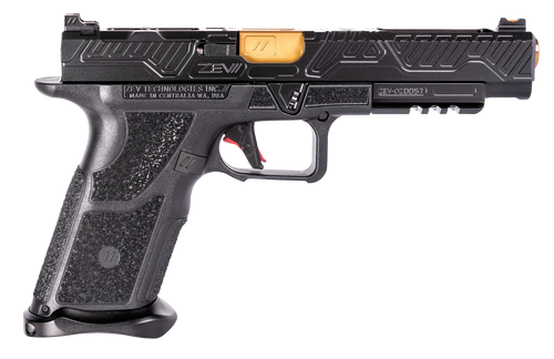 "Zev Technologies O.Z-9 Competition 9mm, Single, 5.75"" Barrel, Black Grip, Black DLC Slide, 17rd"
