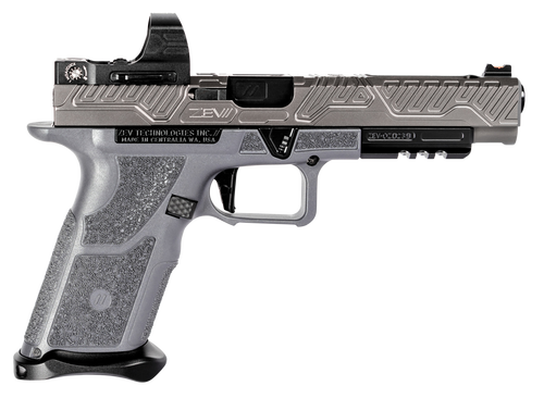 "Zev Technologies O.Z-9 Competition 9mm, Single, 5"" Barrel, Gray Polymer Grip, Titanium Gray Stainless Steel Slide, 17rd"