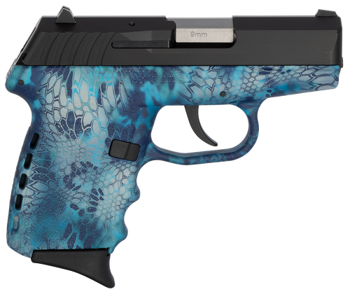 "SCCY CPX-2 Carbon 9mm, 3.1"" Barrel, Kryptek Pontus Grip, Black Stainless Steel Slide, 10rd"