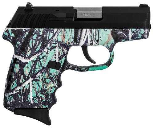 "SCCY CPX-2 Carbon 9mm, 3.1"" Barrel, Muddy Girl Serenity Grip, Black Stainless Steel Slide, 10rd"