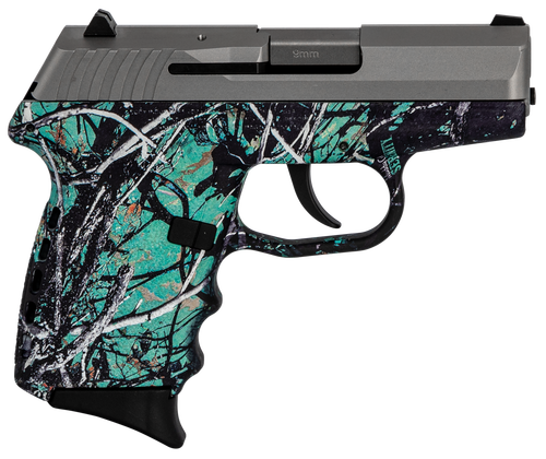 "SCCY CPX-2 Carbon 9mm, 3.1"" Barrel, Muddy Girl Serenity Grip, Stainless Steel Slide, 10rd"