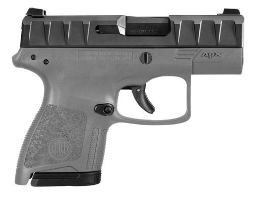 "Beretta APX Carry 9mm, 3.07"" Barrel, Wolf Gray Grip, Black, Serrated Slide, 6rd+8rd Mags"