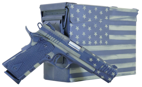"Citadel M-1911 45 ACP, 5"" Barrel, Black G10 Grip American Flag, Battleworn Green Frame American Flag, Battleworn Green Slide, 8rd"