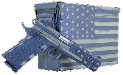 "Citadel M-1911 45 ACP, 5"" Barrel, Black G10 Grip American Flag, Battleworn Green Frame American Flag, Battleworn Green Slide, 8rd"