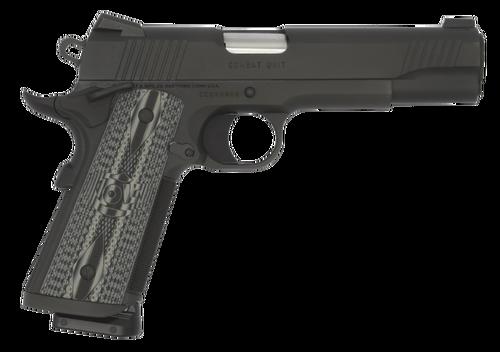 Colt CCU Government 9mm, G10 Grey Grips, Novak Sights, Black DLC, 9rd