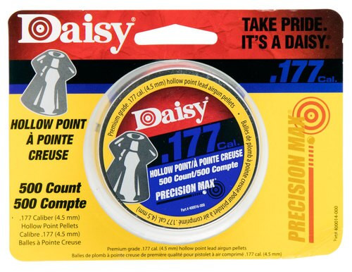 Daisy Hollow Point Pellets, .177 cal, Tin, 500 Per Tin