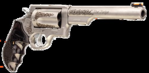 "Taurus Judge Engraved 410 Ga/45 Colt, 6.5"" Barrel, Dymondwood Grip, Stainless, 5rd"