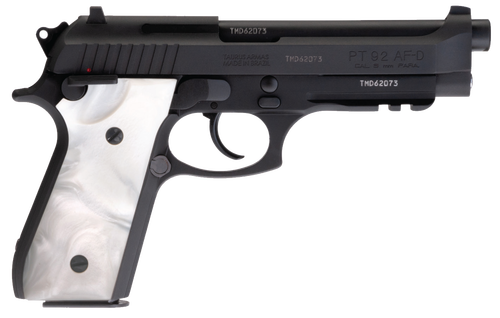 "Taurus PT92 Full Size, 9mm, 5"" Barrel, Steel Frame, Black, Pearl Grips, 17Rd, 2 Magazines"