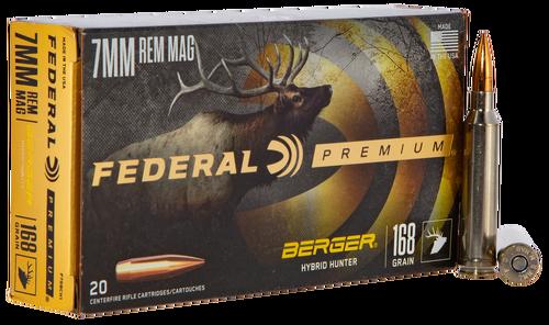 Federal Premium 7mm Remington Mag 168gr, Berger Hybrid Hunter, 20rd Box