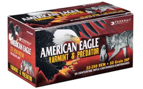 Federal American Eagle 22-250 Rem 50gr, JHP, 50rd Box