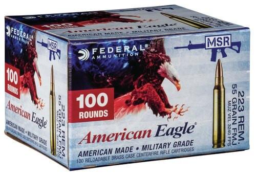 Federal American Eagle 223 Rem/5.56mm 55gr, FMJ, 100rd/Box