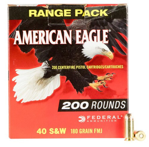 Federal American Eagle 40 S&W 180gr, Full Metal Jacket, 200rd/Box