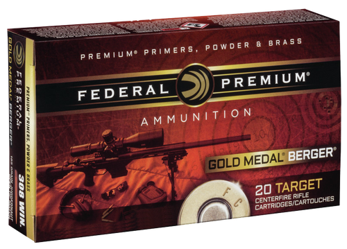 Federal Gold Medal 308 Win/7.62mm 185gr, Open Tip Match 20rd Box