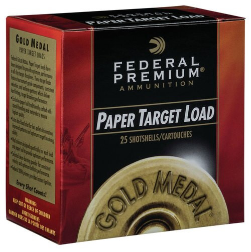 "Federal Gold Medal Paper 12 Ga, 2.75"", 1-1/8 oz, 7.5 Shot, 1200 FPS, 25rd/Box"