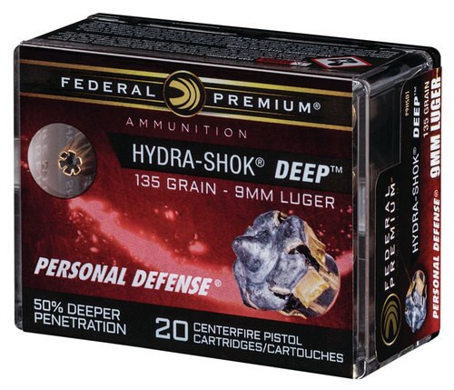 Federal Hydra-Shok Deep 9mm 135gr, Hollow Point, 20rd Box