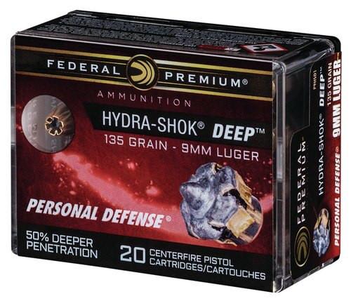 Federal Hydra-Shok Deep 9mm 135gr, Hollow Point, 20rd Box