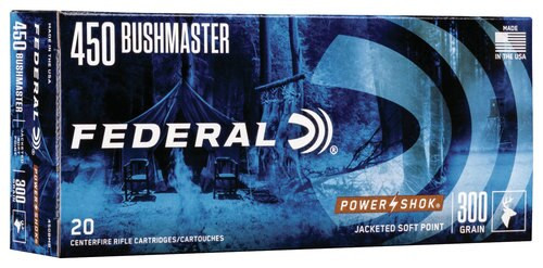 Federal Power-Shok 450 Bushmaster 300gr, Jacketed Soft Point, 20rd Box
