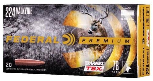 Federal Premium 224 Valkyrie 78gr, Barnes Triple-Shock X Bullet (TSX), 20rd Box