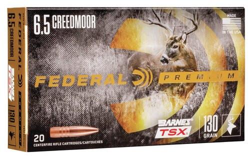 Federal Premium 6.5 Creedmoor 130gr, Barnes Triple-Shock X Bullet (TSX), 20rd Box