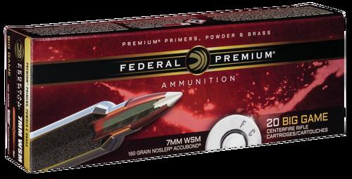 Federal Premium 7mm Win Short Mag 160gr, Nosler AccuBond, 20rd Box