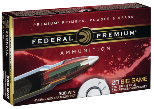 Federal Premium 308 Win 165gr, Nosler Accubond, 20rd Box